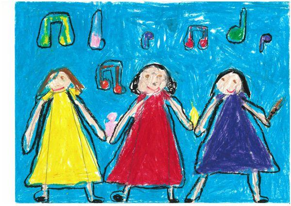 Freundinnen singen zusammen